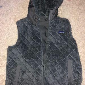 Dark Gray Fuzzy Reversible Patagonia Vest